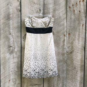 WHBM | white and black speckled strapless dress